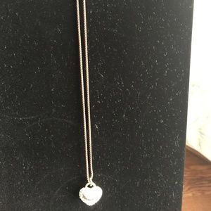 Juicy Couture Silver Heart Necklace with Crystals